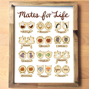 Mates for Life11x14 art print poster animal love vintage style drawing handwritten calligraphy chic wedding engagement anniversary home gift