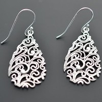 Paisley Drop Silver Earrings