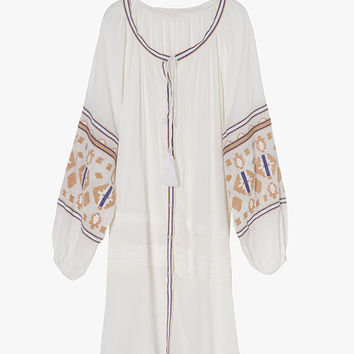 Embroidered Oversized Long Sleeve Mini Dress