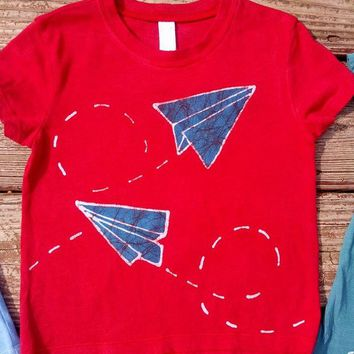 Hand-dyed Short Sleeve Red Paper Airplanes Batik Tee