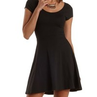 Black Cross-Back Cap Sleeve Skater Dress by Charlotte Russe