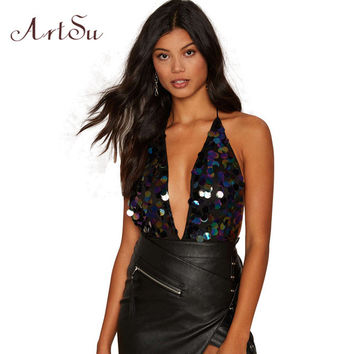 ArtSu Sexy Party Playsuit Rompers Women Deep V Sequin Bodysuits Backless Luxury Slip Jumpsuit Autumn Winter Camisole ASJU20018