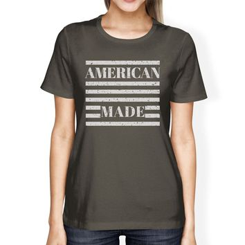 American Made Womens Dark Grey T Shirt Vintage Printing Graphic Tee