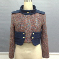 Mandarin Collar Wool Long Sleeve Crop Top