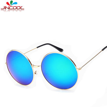JinCool Summer Style Mirror Sunglass Men 2016 Fashion Big Round Sunglasses Women Brand Designer Sun Glasses Oculos de sol S144