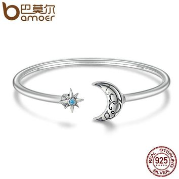 Authentic 925 Sterling Silver Moon & Star Legend Cuff Bracelets & Bangle for Women Luxury Sterling Silver Jewelry SCB014