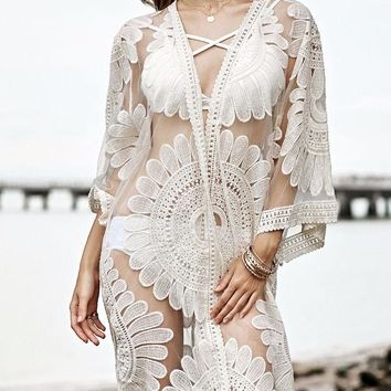 DCCKH3L Fashion Sunflower Lace Embroidery Middle Sleeve Bikini Cardigan Sunscreen Clothes Kimono