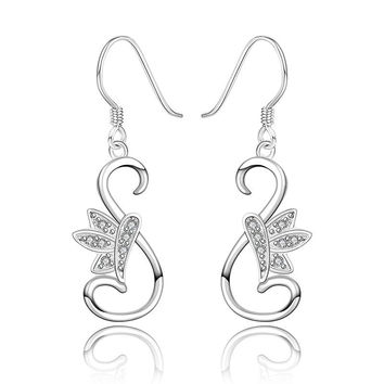 Sterling Silver Curved Peacefull Dove Drop Earring