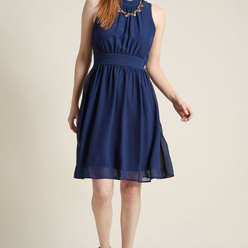 Windy City A-Line Dress in Navy