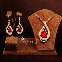 Sapphine Austrian Crystal chain jewelry sets necklace & earrings
