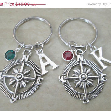 ON SALE Set Of 2 Compass Keychains With Birthstones And Initial Charms, Nature Key Chain, Party Favors, Wedding Favors, Nautical