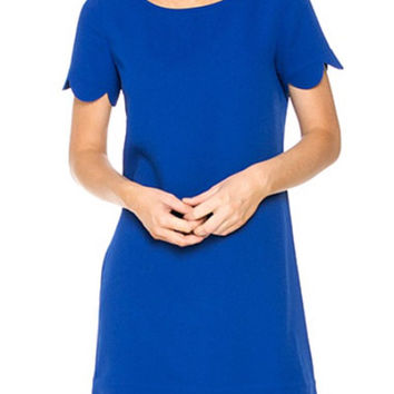 Scalloped Hem Shift Dress. - Royal