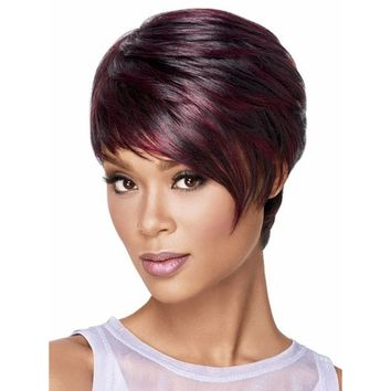Elegant Natural Inclined Bangs Straight Hairpieces Wig Stylish Short Pixie Cut Hairstyle Wigs for Sexy Lady Natural Wine Red Ha