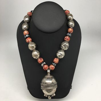 "78.6g, Double Round Metal Wood Beaded Turkmen Necklace @Afghanistan, 25"", TN162"