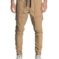 Italy Morn Men Chino Cargo Jogger Pants Casual Sweatpants Twill Khakis Slim fit L Khaki