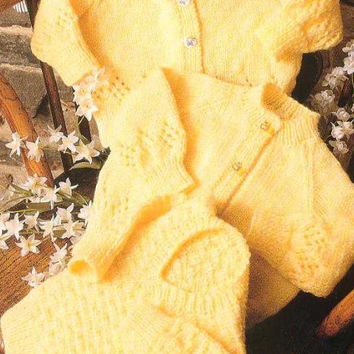 """Crew and V Neck Cardigans and V Neck Sweater Knitting Pattern PDF instant download. Size 16""""-22"""". Double Knitting Yarn. childrens knits"""