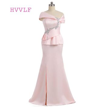 Pink 2018 Mother Of The Bride Dresses Mermaid Cap Sleeves Satin Beaded Slit Wedding Party Dress Mother Dresses For Wedding