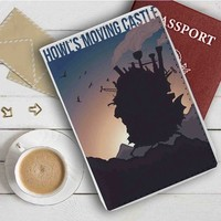 Howl's Moving Castle Silhouette Leather Passport Wallet Case Cover