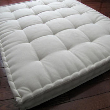 Beige Velvet Floor Pillow, Reading Nook Cushion with French Mattress Quilting, Supportive Foam Tufted Floor Cushion, Oversized Floor Seating