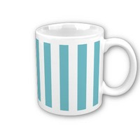 Blue Curacao And Vertical White Stripes Patterns Coffee Mugs from Zazzle.com