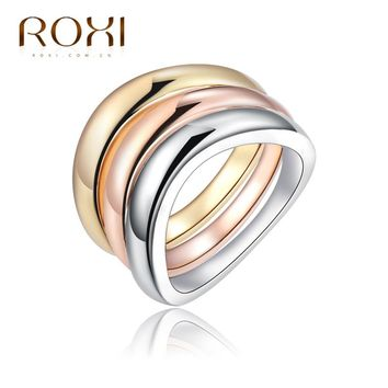 ROXI Engagement Wedding Ring Set for women Rose Gold bague acier inoxydable pour femme 2017 Fashion Lord of the Rings