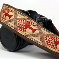 Tribal Camera Strap, dSLR, Trees, Brown, Tan, Rust, SLR