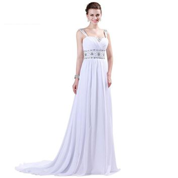 Womens Prom Dresses Strap Chiffon Floor length Long Beaded Gowns White Evening Dress