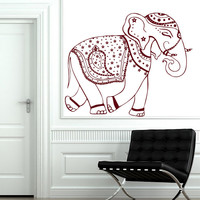 Decorated Ganesha Wall Decals Indian Elephants Vinyl Decal Sticker Animals Home Interior Design Art Mural Living Room Bedroom Decor MR390