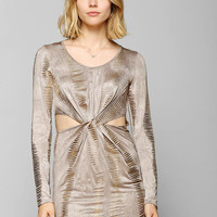 Staring At Stars Long-Sleeve Twist-Front Metallic Bodycon Dress - Urban Outfitters