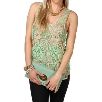 Mint Embroidered Organza Top