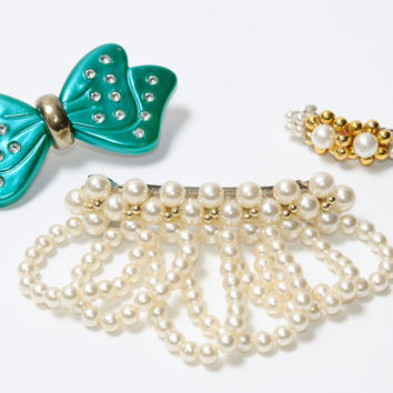 Lot Of Three Vintage Hair Clips: Teal Bow With Jewels, Tiny Gold and White Clip and Faux Pearl Clip