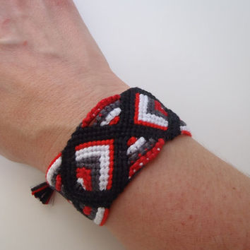 Friendship Bracelet Knotted Black Red White Grey Cuff BFF Wide Best Friends Jewelry