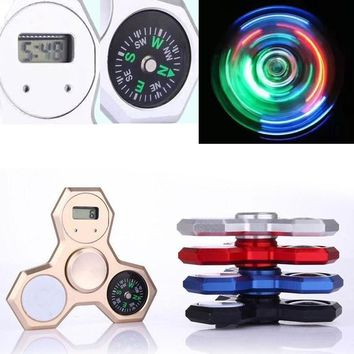 LED Light Fidget Spinner With Compass and Clock