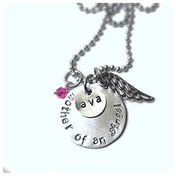 Mother of an Angel  Memorial Remembrance Child or Infant Loss Necklace
