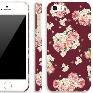 iPhone 5s case vintage, Akna Retro Floral Series Vintage Flower Pattern Rubber Coating Back Case for iPhone 5 5S (Scotch Red)(U.S)