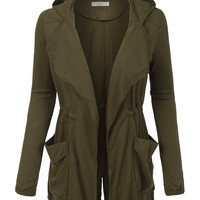 LE3NO Womens Open Front Military Anorak Long Sleeve Jacket with Drawstring Waist