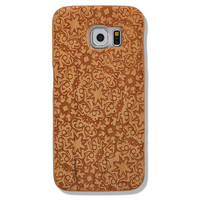 Little Flower Pattern Unique Natural Wood Grain Wooden Case for Samsung Galaxy S6 Wood Cover Case