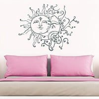 "Sun And Moon Wall Decal Crescent Moon Decor Ethnic Symbol Decal Bedroom Decor Dorm Bohemian Boho Decal Sun And Moon Wall Art Decor NS821 (18"" Tall x 23"" Wide)"