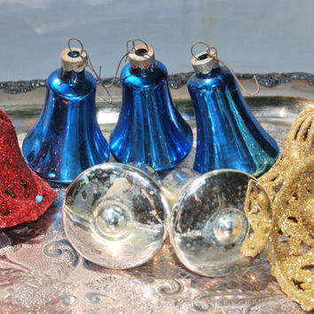 Vintage Christmas Bells for the Tree  , Set of 8 Christmas Ornaments