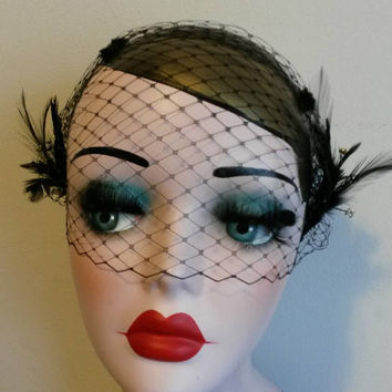 Roaring 20s wedding, fascinator,  gala, wedding, black, lace, feather, gatsby, ladies headband, headpiece, hair, masquerade