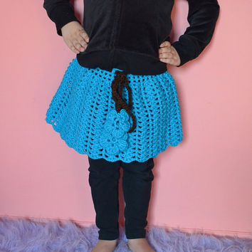 Handmade Size 3T  Deep Turquoise Crochet Skirt, Crochet Toddler Skirt, Skirt For Girls With Crochet Flower Ends