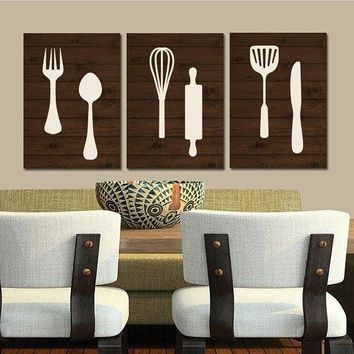 KITCHEN Wall Art, Canvas or Print, Wood Utensils Decor, Fork Spoon Knife Tools Pictures, Rustic Decor, Country Dining Room, Set of 3