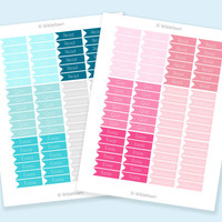 Student Planner Flag Printable Stickers - Aqua & Blush