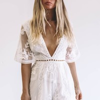 Take It Personal White Lace Detail Romper