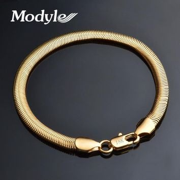Modyle 2018 New Fashion 6MM Gold Color Snake Chain Bracelet for Men Punk Rock Jewelry