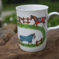 Paddock Coffee Tea Kitchen Mug Horses in Training w Colorful Protective Wear