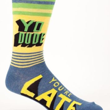 Yo Dude, You're Late Men's Socks in Green, Blue and Yellow