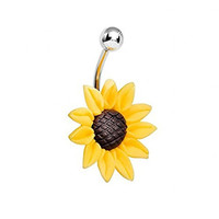IPINK Stunning Sunflower 14G 316L Stainless Surgical Steel Belly Button Ring Navel