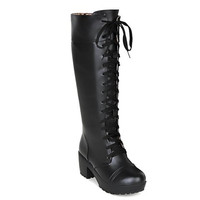 Laconic Mid-Calf Boots With Lace-Up and Chunky Heel Design