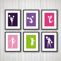 Cheerleaders Print - Cheerleading Decor, Teen Room, Girl Sports, Girls Room, Playroom Decor, Girls Bathroom, Custom Colors and Sizes